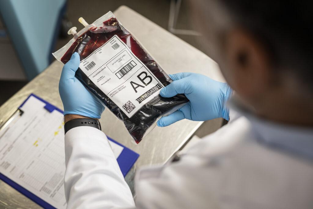 Label på blodpose